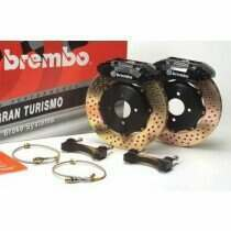 Brembo 05-2014 Mustang GT Gran Turismo 355mm Brake Kit w/ 2pc Drilled Rotors and 6 Piston Calipers (Base Brakes)