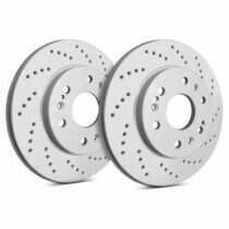 SP Performance Rotor C54-017 Cross Drilled Brake Rotors with Gray ZRC Coating  (1994-2004 Ford Mustang Base)