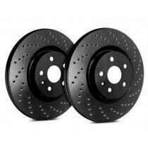 SP Performance Rotor C54-017-BP Cross Drilled Brake Rotors with Black Zinc Plating (1994-2004 Ford Mustang Base)(Black)