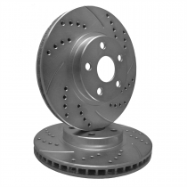 SP Performance Rotor F54-01 Drilled And Slotted Brake Rotors with Gray ZRC Coating  ( Ford Mustang With Front Disc Brakes - Except Boss)