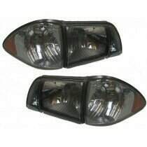 87-93 Mustang 6 Piece EURO Headlight Set - Smoked