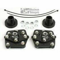 Maximum Motorsports 4-bolt Caster/Camber Plates-Black Powdercoat
