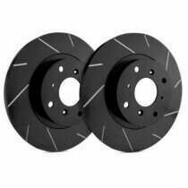 SP Performance Rotor T54-130-BP Slotted Brake Rotors with Black Zinc Plating (2005-2009 Ford Mustang 4.0L V6 Engine)(Black)