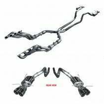 "ARH 2013-2104 Shelby GT500 1-3/4"" Long Tube Headers with 3"" Catted Mid Pipe and ""Pure Thunder "" Quad Tip Cat-Back"