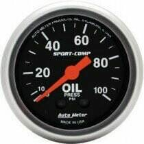 "Autometer Sport Comp 2-1/16"" Mechanical 0-100psi Oil Pressure"