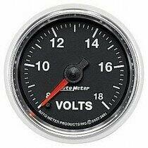 "Auto Meter GS Series 2 1/16"" 8-18 Volts Voltmeter Gauge"