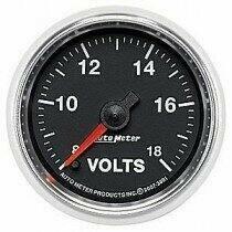 "Auto Meter GS Series 2 1/16"" 8-18 Volts Voltmeter Gauge"