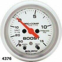 "Autometer Ultra-Lite Series 2 1/16"" -30/+15 Boost/Vacuum Gauge"