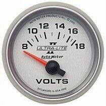"Autometer Ultra-Lite II Series 2 1/16"" 8-18 Volts Voltmeter"