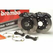 Brembo 94-04 Mustang Gran Turismo Front 330mm Brake Kit w/ 1pc Slotted Rotors and Black 4 Piston Calipers
