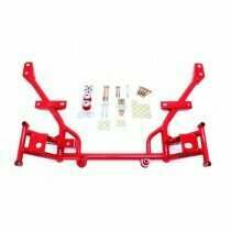 "BMR Suspension KM020R Tubular K-Member with 1/2"" Lowered Motor Mounts Standard Rack Mounts - Red (2005-2014 Mustang)"