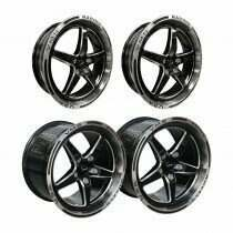 VMS Racing Front and Rear Street Drag Race Wheel Set - Machined Face (2005-2020 Mustang)