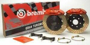 Brembo 94-04 Mustang Gran Turismo Front 330mm Brake Kit w/ 1pc Drilled Rotors and Black 4 Piston Calipers