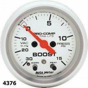 """Autometer Ultra-Lite Series 2 1/16"""" -30/+15 Boost/Vacuum Gauge"""