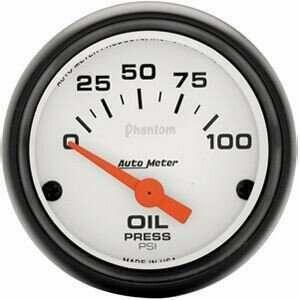 """Autometer Phantom Series 2 1/16"""" 0-100 PSI Oil Pressure Gauge"""