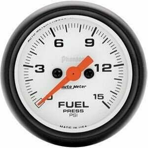 "Autometer Phantom Series Electric 2 1/16"" 0-15 PSI Fuel Pressure"