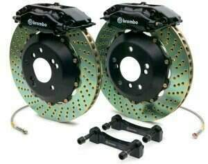 Brembo 94-04 Mustang Gran Turismo Front 332mm Brake Kit w/ 2pc Drilled Rotors and 4 Piston Calipers