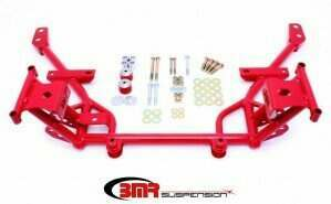 BMR Suspension KM018R Tubular K-Member Standard Motor Mounts Standard Rack Mounts - Red (2005-2014 Mustang)