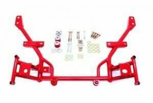 "BMR Suspension KM020R Tubular K-Member with 1/2"" Lowered Motor Mounts Standard Rack Mounts - Red (2005-2014 Mustang)"