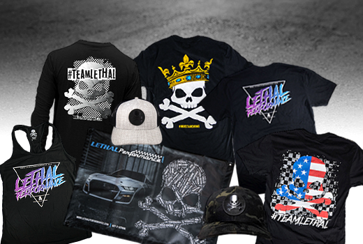 Team Lethal shirts and hats displayed