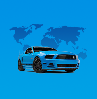 Grabber Blue Ford Mustang layed ontop of a blue world map