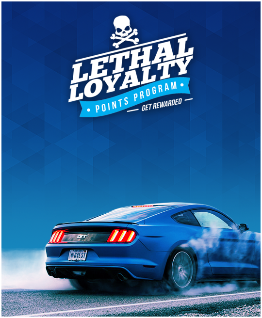 Lightening blue Ford Mustang GT with Lethal Performance loyalty program text